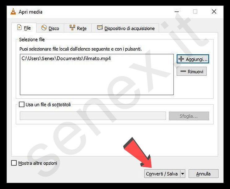 ridurre video con VLC