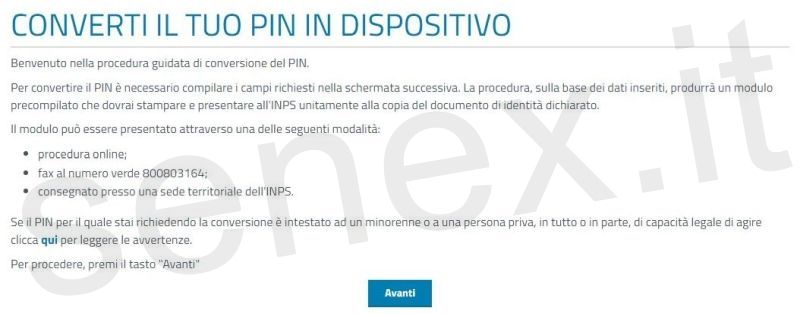 pin dispositivo inps