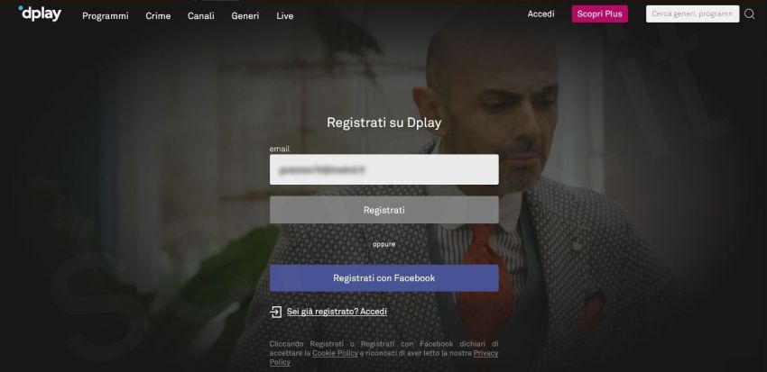 registrarsi gratis su Dplay Plus