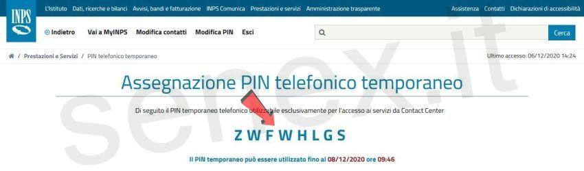 pin telefonico inps